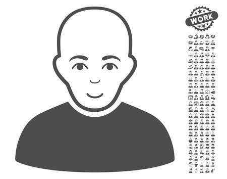 setup man: Bald Man pictograph with bonus people graphic icons. Vector illustration style is flat iconic gray symbols on white background. Illustration