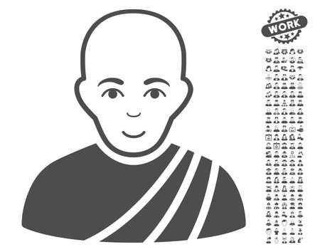 configure: Buddhist Monk icon with bonus men pictures. Vector illustration style is flat iconic gray symbols on white background.
