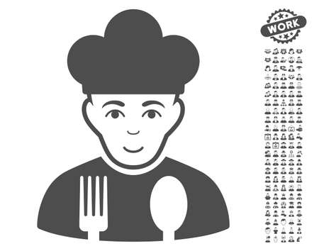 setup man: Cook icon with bonus human clip art. Vector illustration style is flat iconic gray symbols on white background. Illustration