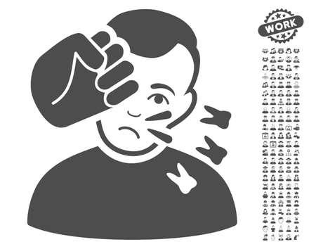 configure: Head Strike icon with bonus avatar pictograms. Vector illustration style is flat iconic gray symbols on white background.