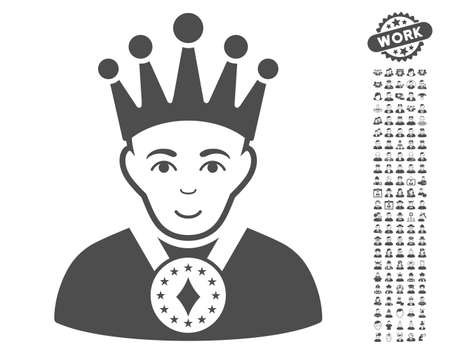 czar: King pictograph with bonus occupation clip art. Vector illustration style is flat iconic gray symbols on white background.