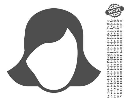 somebody: Lady Face Template pictograph with bonus human graphic icons. Vector illustration style is flat iconic gray symbols on white background.