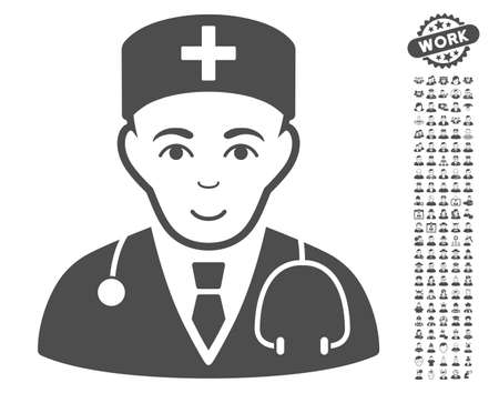 auscultation: Physician pictograph with bonus people pictograms. Vector illustration style is flat iconic gray symbols on white background.