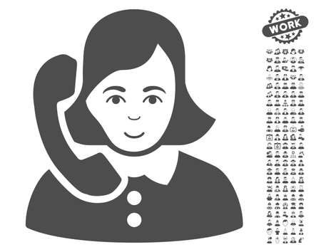 Receptionist icon with bonus human clip art. Vector illustration style is flat iconic gray symbols on white background.