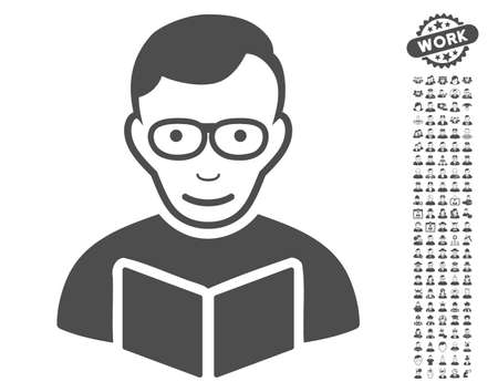 configure: Reader icon with bonus occupation pictograph collection. Vector illustration style is flat iconic gray symbols on white background. Illustration