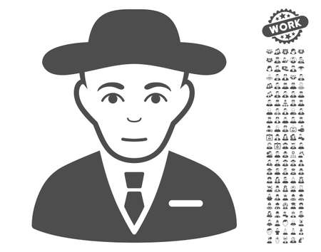 the fbi: Secret Service Agent icon with bonus men pictograms. Vector illustration style is flat iconic gray symbols on white background.