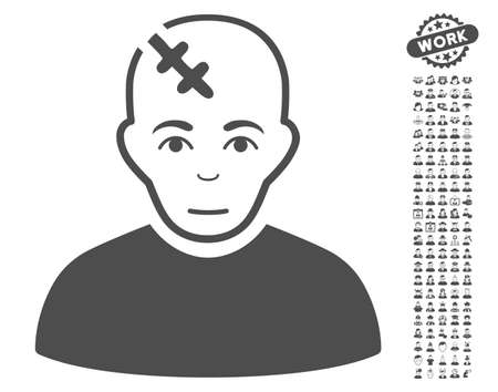configure: Head Hurt icon with bonus human pictograph collection. Vector illustration style is flat iconic gray symbols on white background.