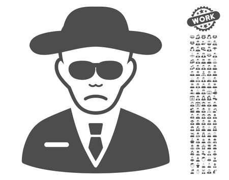 agent de sécurité: Agent de sécurité icône avec occupation de bonus icon set. Vector illustration style est plat symboles gris iconiques sur fond blanc. Illustration