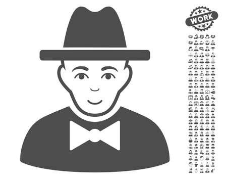 the fbi: Spy icon with bonus men symbols. Vector illustration style is flat iconic gray symbols on white background.