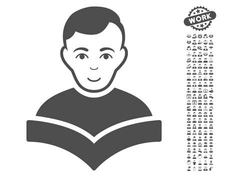 configure: Student icon with bonus avatar icon set. Vector illustration style is flat iconic gray symbols on white background. Illustration