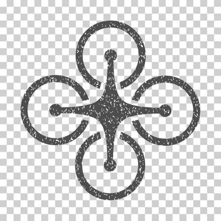 airflight: Airdrone grainy textured icon for overlay watermark stamps. Flat symbol with dirty texture. Dotted vector gray ink rubber seal stamp with grunge design on a white background. Illustration