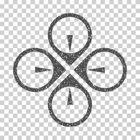 airflight: Fly Drone grainy textured icon for overlay watermark stamps. Flat symbol with scratched texture. Dotted vector gray ink rubber seal stamp with grunge design on a white background.