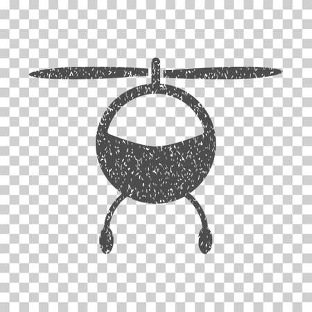 Helicopter grainy textured icon for overlay watermark stamps. Flat symbol with scratched texture. Dotted vector gray ink rubber seal stamp with grunge design on a white background.