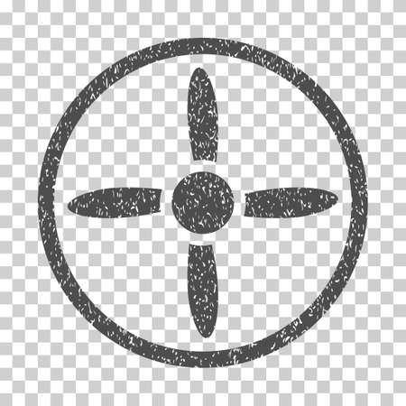 airscrew: Drone Screw grainy textured icon for overlay watermark stamps. Flat symbol with dirty texture. Dotted vector gray ink rubber seal stamp with grunge design on a white background.