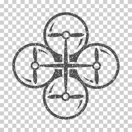airflight: Drone Screws grainy textured icon for overlay watermark stamps. Flat symbol with dirty texture. Dotted vector gray ink rubber seal stamp with grunge design on a white background.