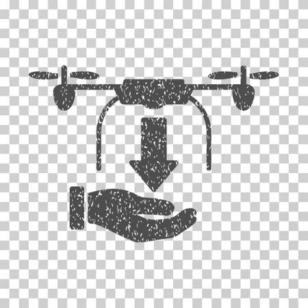 drop down: Unload Drone Hand grainy textured icon for overlay watermark stamps. Flat symbol with dust texture. Dotted vector gray ink rubber seal stamp with grunge design on a white background. Illustration