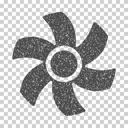 rotor: Rotor grainy textured icon for overlay watermark stamps. Flat symbol with dirty texture. Dotted vector gray ink rubber seal stamp with grunge design on a white background.