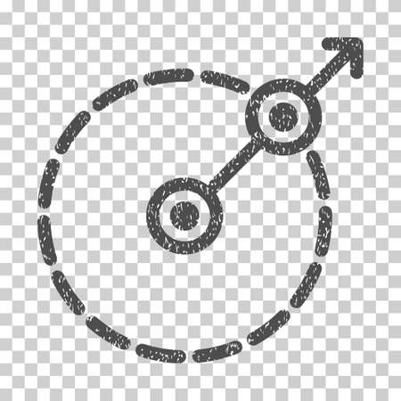 bounds: Round Area Exit grainy textured icon for overlay watermark stamps. Flat symbol with unclean texture. Dotted vector gray ink rubber seal stamp with grunge design on a white background.