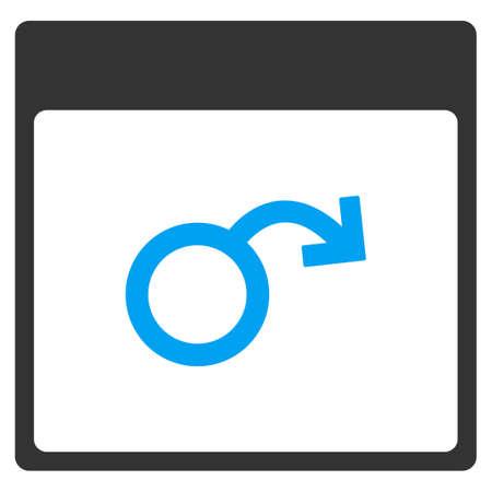 testiculos: La impotencia página de calendario icono de la barra glifo. El estilo es bicolor símbolo de icono plana, colores azul y gris, fondo blanco.