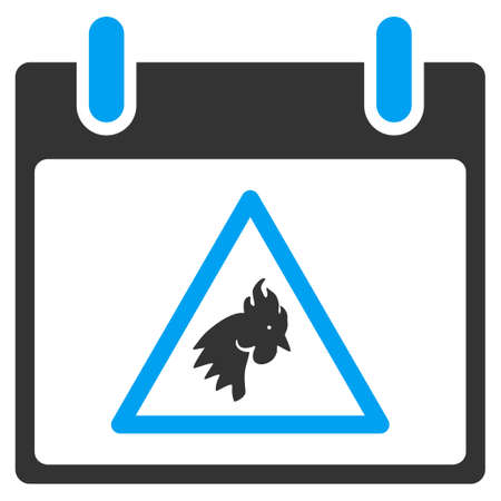 failed plan: Rooster Warning Calendar Day glyph toolbar icon. Style is bicolor flat icon symbol, blue and gray colors, white background. Stock Photo