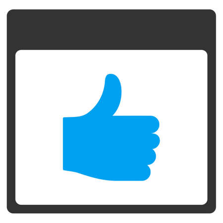 Thumb Up Calendar Page glyph toolbar icon. Style is bicolor flat icon symbol, blue and gray colors, white background.