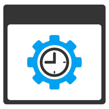 Clock Configuration Gear Calendar Page vector toolbar icon. Style is bicolor flat icon symbol, blue and gray colors, white background. Illustration
