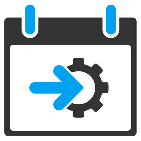 Cog Integration Calendar Day vector toolbar icon. Style is bicolor flat icon symbol, blue and gray colors, white background.