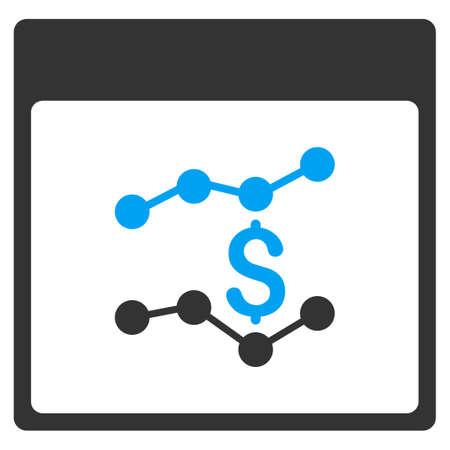 財務グラフ カレンダー ページ ベクトル ツールバー アイコン。スタイルはバイカラー フラット アイコン シンボル、青および灰色の色、白の背景です。