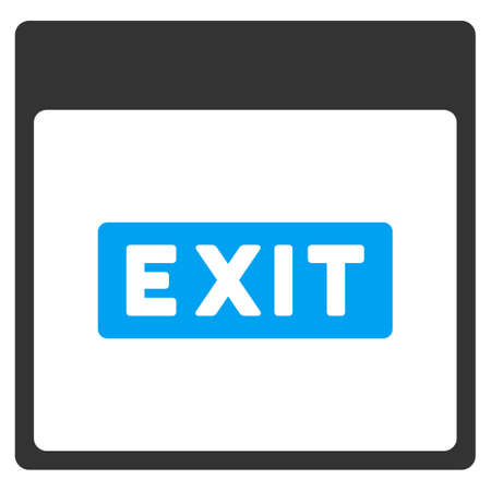 escape plan: Exit Caption Calendar Page vector toolbar icon. Style is bicolor flat icon symbol, blue and gray colors, white background.