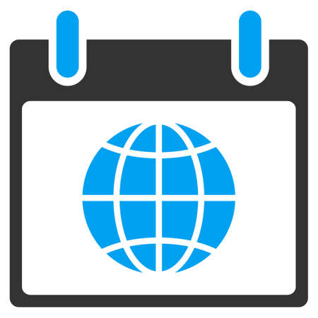 agenda browse: Globe Calendar Day vector toolbar icon. Style is bicolor flat icon symbol, blue and gray colors, white background.