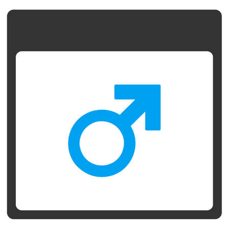 sexual orientation: Mars Male Symbol Calendar Page vector toolbar icon. Style is bicolor flat icon symbol, blue and gray colors, white background.