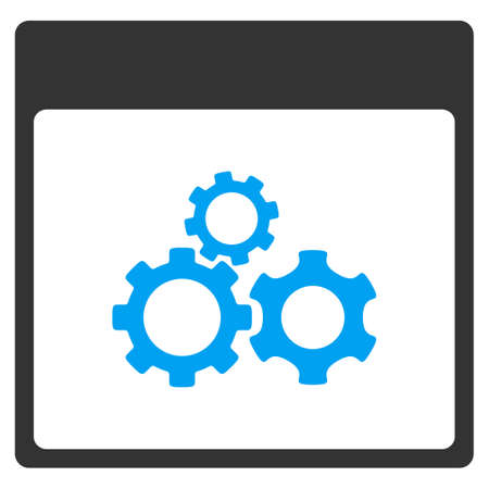 Mechanics Gears Calendar Page vector toolbar icon. Style is bicolor flat icon symbol, blue and gray colors, white background.