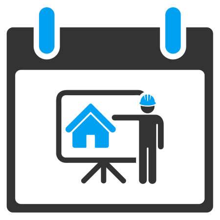 Realty Developer Calendar Day vector toolbar icon. Style is bicolor flat icon symbol, blue and gray colors, white background.