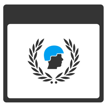 sergeant: Soldier Laurel Wreath Calendar Page vector toolbar icon. Style is bicolor flat icon symbol, blue and gray colors, white background.