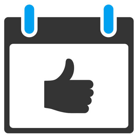 date validate: Thumb Up Calendar Day vector toolbar icon. Style is bicolor flat icon symbol, blue and gray colors, white background. Illustration