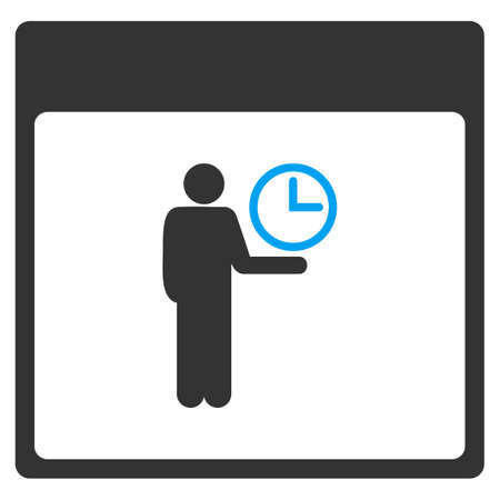 Time Manager Calendar Page vector toolbar icon. Style is bicolor flat icon symbol, blue and gray colors, white background. Illustration