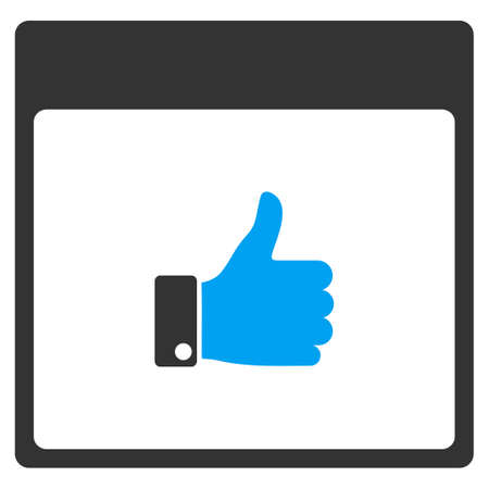 date validate: Thumb Up Hand Calendar Page vector toolbar icon. Style is bicolor flat icon symbol, blue and gray colors, white background. Illustration