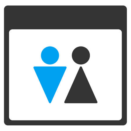 WC Persons Calendar Page vector toolbar icon. Style is bicolor flat icon symbol, blue and gray colors, white background.