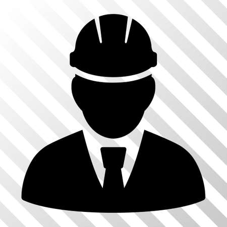Black Engineer interface toolbar icon. Vector pictograph style is a flat symbol on diagonally hatched transparent background.