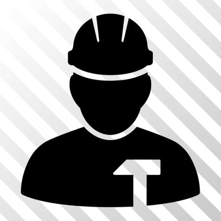 Black Builder Person interface toolbar pictogram. Vector pictograph style is a flat symbol on diagonal hatch transparent background.