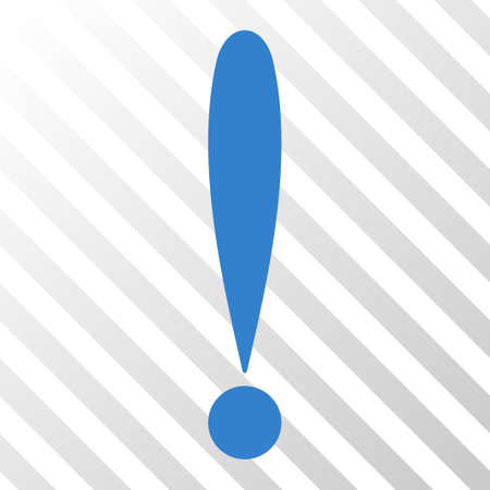 Cobalt Exclamation Sign toolbar pictogram. Vector pictograph style is a flat symbol on diagonally hatched transparent background.