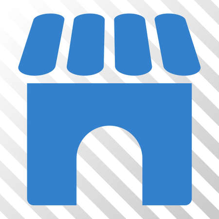 diagonally: Cobalt Shop toolbar icon. Vector pictogram style is a flat symbol on diagonally hatched transparent background. Illustration