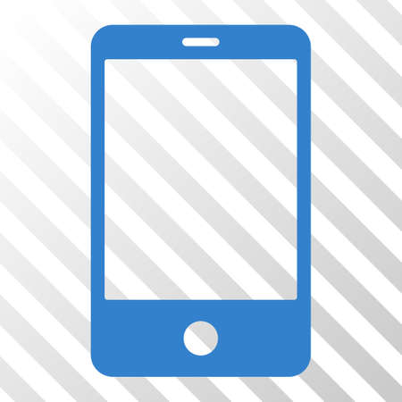 Cobalt Smartphone interface pictogram. Vector pictograph style is a flat symbol on diagonal hatch transparent background.