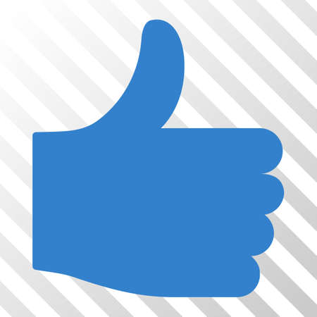cobalt: Cobalt Thumb Up interface toolbar pictogram. Vector pictograph style is a flat symbol on diagonal hatch transparent background.