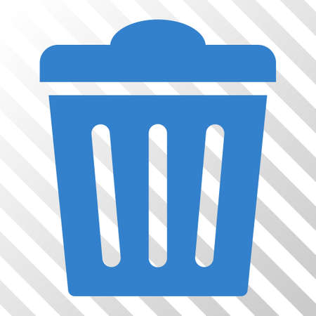Cobalt Trash Can interface pictogram. Vector pictogram style is a flat symbol on diagonally hatched transparent background. Stock Photo