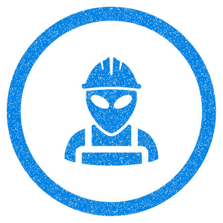 Rounded Alien Worker rubber seal stamp watermark. Icon symbol inside circle with grunge design and scratched texture. Unclean vector blue emblem. Illustration