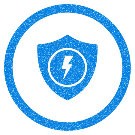 safeguards: Rounded Electric Guard rubber seal stamp watermark. Icon symbol inside circle with grunge design and unclean texture. Unclean vector blue emblem.