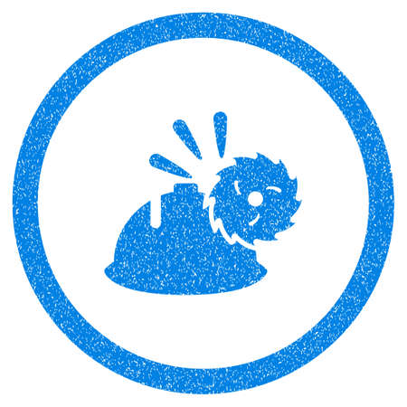 dangerous work: Rounded Circular Blade Head Protection rubber seal stamp watermark. Icon symbol inside circle with grunge design and dirty texture. Unclean vector blue sign.