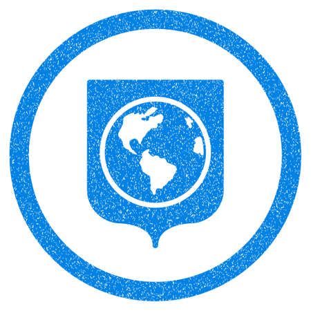 Rounded Earth Shield rubber seal stamp watermark. Icon symbol inside circle with grunge design and unclean texture. Unclean vector blue sticker. Illustration