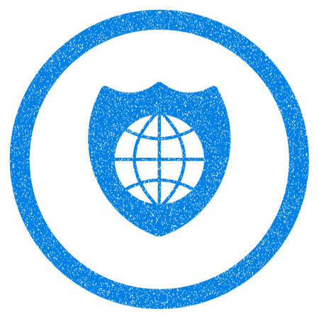Rounded Global Shield rubber seal stamp watermark. Icon symbol inside circle with grunge design and dust texture. Unclean vector blue sticker.